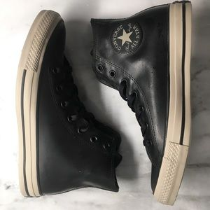 Converse Black Rubber high tops size 8